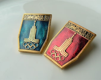 OLYMPIC PIN Russian Vintage/ Pin Olympic Games in Moscow 1980/ Red Blue Gold/ Collectible Sports Pin/ USSR 1980