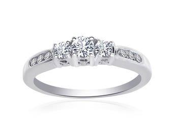 0.50 Carat Round Cut Diamond Engraved Engagement Ring 14K White Gold