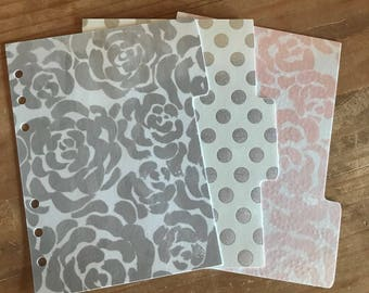Three tab silver foil planner dividers. Planner supplies, accessories, decorations. Made to fit pocket, personal, A5, and happy planner.