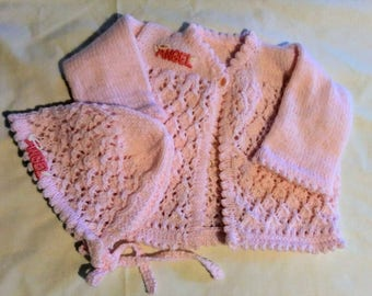 Hand Knit Baby Sweater and Bonnet 3-6 Months