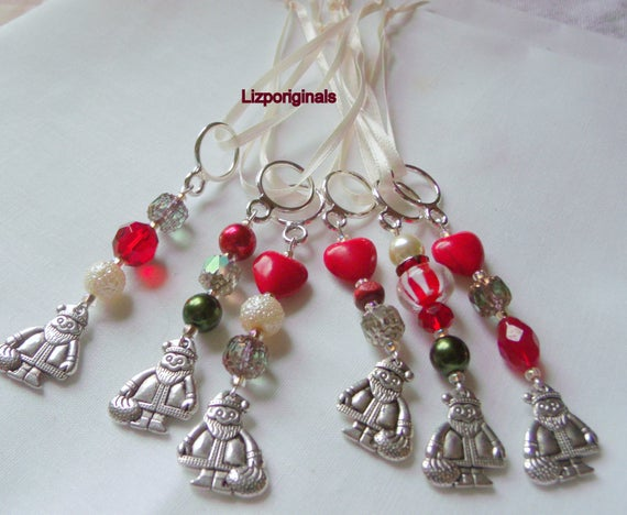 Whimsical Santa ornament - Holiday -  tree decor- gift add on -  green red  beaded accents - silver charms - candy cane beads -   favors