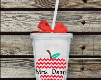 Apple Chevron Teacher Personalized Tumbler Cup with Lid and Straw