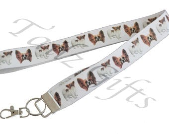 Papillon Breed of Dog Lanyard or Keyring - Perfect Gift