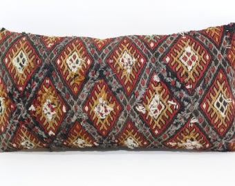 10x20 Embroidered Kilim Pillow Naturel Lumbar Pillow 10x20 Turkish Kilim Pillow Boho Pillow Home Decor Throw Pillow SP2550-987