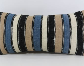 10x20 Striped Kilim Pillow Floor Pillow Home Decor Ethnic Pillow 10x20 Decorative Kilim Pillow Turkish Kilim Pillow SP2550-1230