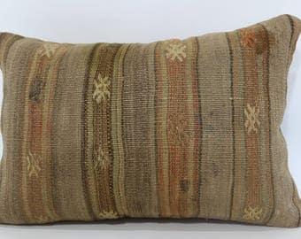 16x24 Anatolian Kilim Pillow Floor Pillow Throw Pillow 16x24 Handwoven Kilim Pillow Turkish Kilim Pillow Cushion Cover  SP4060-755