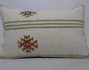 Patterned Kilim Pillow Decorative Pillow  Throw Pillow Chic Pillow White Kilim Pillow 16x24 Bedroom Pillow Home Decor SP4060-865