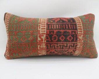 Lumbar Kilim Pillow 10x20 striped kilim pillow Turkish Embroidery Pillow Floor Pillow boho pillow Antique pillow Home Decor SP2550-1588