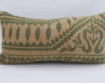 12x24 Geometric Kilim Pillow Fawn Pillow 12x24 Lumbar Pillow Green Kilim Pillow Ethnic Pillow Bohemian Pillow Cushion Cover SP3060-1741