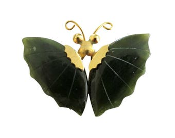 Vintage Gold Tone & Carved Spinach Jade Butterfly Brooch Pin