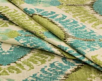 Chimayo Mineral Blue Ikat Linen Blend Drapery Fabric by Richloom