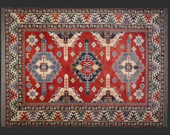 Kazak Rug 7.10 x 6.4 ft - 240 x 185 cm vintage carpet - Free Shipping US - CA - EU