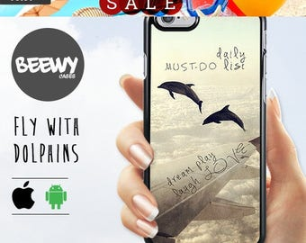 French Sales!!! Fly with Dolphins  iPhone 6 Case, iPhone 5 Case, iPhone 4 Case, NOKIA 630 Case, Xperia M2 Case, Xperia Z3 Compact, Case,