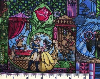 PRE-ORDER NOW! Beauty & the Beast Fabric - Disney - Stained Glass Look - by Springs Creative -100% Cotton Fabric - Quilt Shop Qualtiy