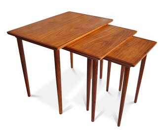 Original Danish Bramin Teak Nesting Tables / 3 Tables