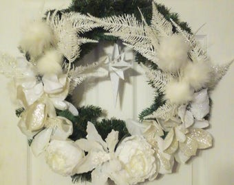 Clearance | Christmas Wreath | Winter Wreath | Christmas Decor | Snow | Winter Wonderland | White | Angelic |