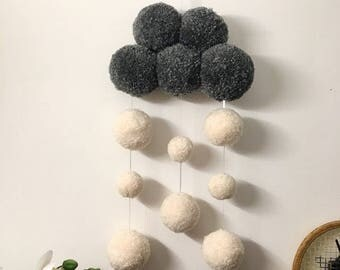 Pompom snowcloud mobile/wall hanging