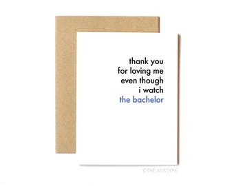 Funny Love Card, Anniversary Card, Card for Husband, Valentine's Day Card - The Bachelor