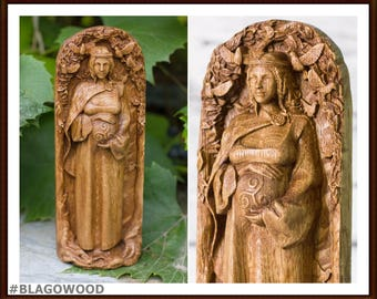 Danu, wooden, Dana, mother goddess, Irish goddess, pagan goddess, wiccan, wicca, altar, druid, witches, gaelic