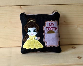 Personalized Embroidered Denim Princess Character Tooth Fairy Coin Decorative Hanging Pillow - Child Gift Idea