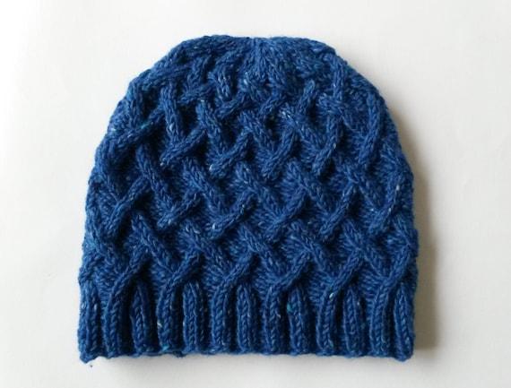 Aran knit beanie: handknit hat in Aran tweed wool. Made in Ireland. Original design. Man's knit beanie. Blue knit beanie. Boyfriend gift.