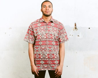 Aztec Polo Shirt . 90s Vintage Ethnic Top Aztec Pattern Shirt Geometric Summer Top Mens Thick T-Shirt Hipster Outfit . size Large L