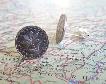 Hungary coin cufflinks - made of original coins from Hungary - wanderlust - flower