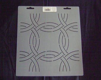Sashiko Japanese/Traditional Embroidery/Quilting Stencil 6 in. Wedding Ring Design 9 in. Block/8