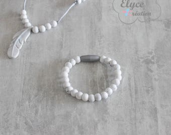 Bracelet of pearls silicone chew, teething feather (marble)