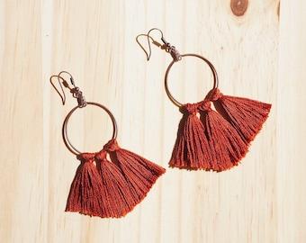Red Tassel Earrings, Hoop Tassel Earrings, Brass Earrings