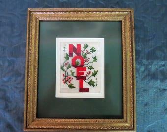 Noel Framed Needlepoint - 1991 Christmas - Expertly Framed