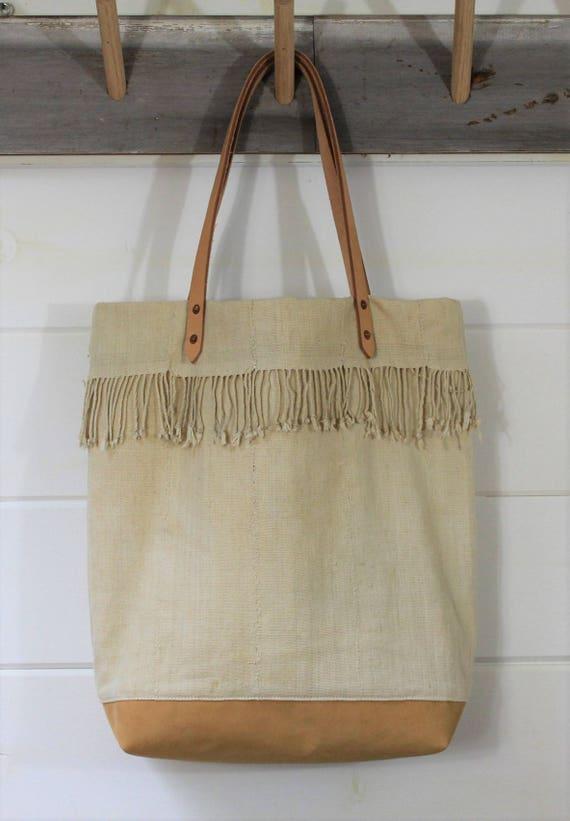 Natural Mud Cloth Fringe Tote