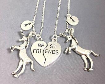 Unicorn Charm, Set of 2  silver, Necklace Jewelry,best friend necklace,always pendant,friendship jewelry,BFF necklace for 2,best friend gift