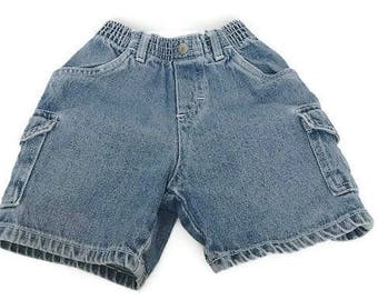 Vintage  Denim Cargo Shorts  Size 18-24 Months washed Shorts By Carter's