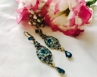 Vintage bronze earrings turquoise and blue crystal earrings vintage style flower earrings