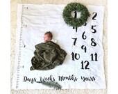 Baby milestone blanket, Age + Growth hand drawn Baby Monthly milestones, anniversary milestone blanket, black and white blanket PRE ORDER