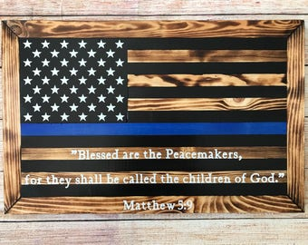 Personalized wooden policeman blue line flag - police officer flag - perfect gift