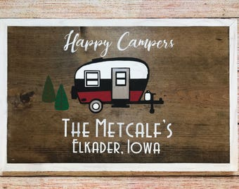 "Personalized ""Happy Camper"" sign - painted, ready to hang - Customizable"