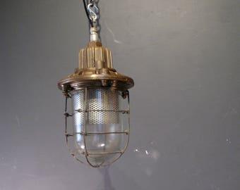 Industrial caged bulk head light original vintage ceiling light 5x available