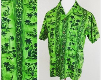 Vintage Green Hawaiian shirt by Fashions of Hawaii