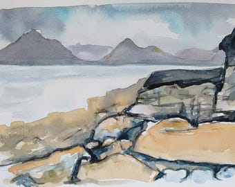 Isle of Skye landscape painting original watercolour painting one off art, an original watercolour painting of the Black Cuillins from Elgol