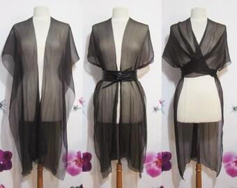 Vest multiposition convertible shawl dark brown pleated chiffon