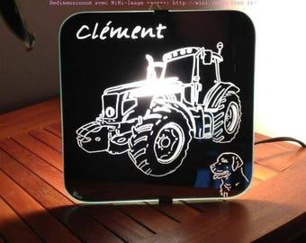 """Mirror craft engraving """"Tractor"""" applique"""