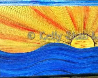 Seascape, Sunrise painting, Treasure Island, Florida Art, Acrylic Art, Mixed Media painting, wood art, Beach art, Beach cottage art