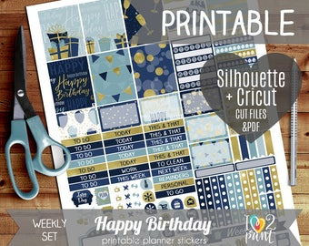 Birthday  Weekly Printable Planner Stickers, Erin Condren Planner  Stickers, Weekly Stickers, Birthday Stickers  - Cut files