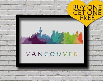 Cross Stitch Pattern Vancouver British Columbia Canada City Silhouette Watercolor Effect Rainbow Color Skyline xstitch DIY E Pattern