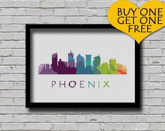 Cross Stitch Pattern Phoenix Arizona City Silhouette Watercolor Effect Decor Modern Embroidery Usa City Skyline Art xstitch Diy Chart