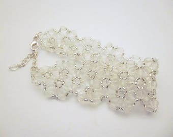 Bracelet lace transparent white beads