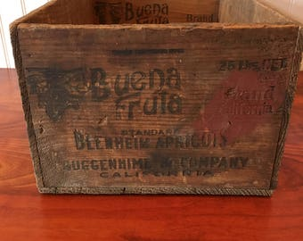 Wooden Fruit Crate Apricot Crate Wood Box Wood Crate Orchard Vintage Crate Wooden Crate Campbell Fruit Growers Crate California Fruit Crate