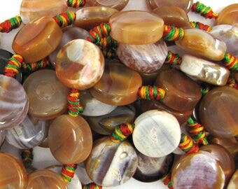 """15mm multicolor crab agate coin beads 15"""" strand 11099"""